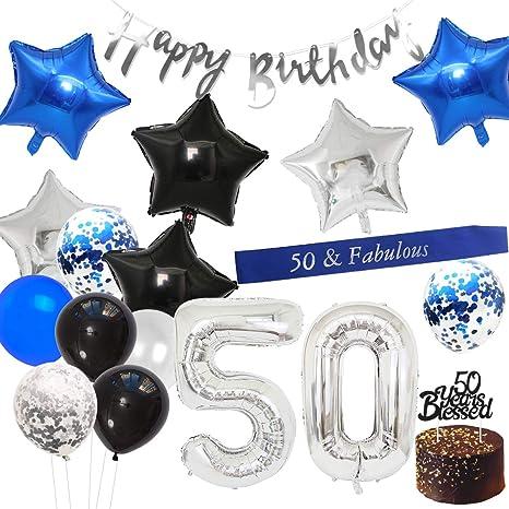 JOYMEMO Decoraciones para el 50 cumpleaños Banner de Feliz ...
