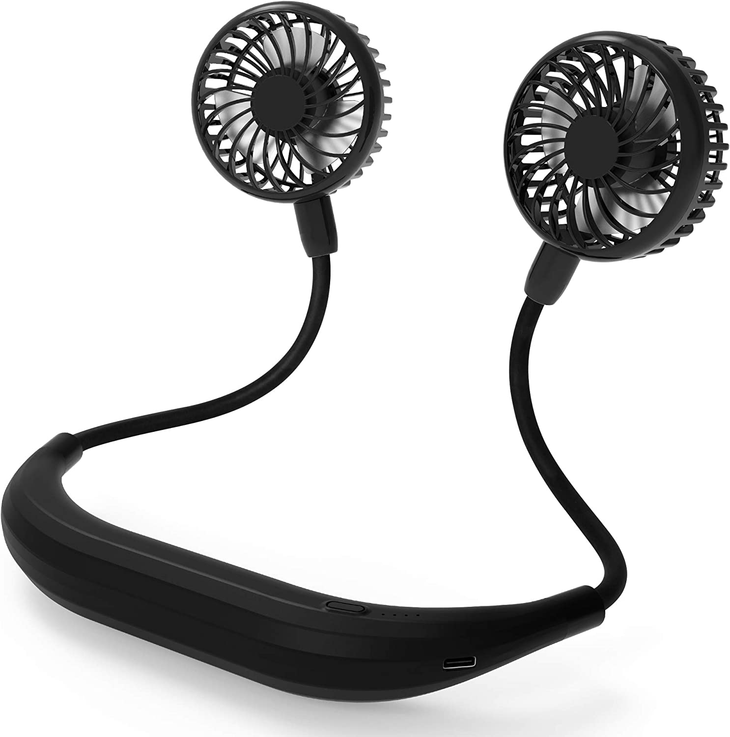 Neck Fan, 5200mAh Battery Powered Neckband Fan With 4 Speeds, Natural Wind Mode, 360° Adjustable, Hands-Free Portable Personal Fan for Sports, Home, Office, Trave (Black)