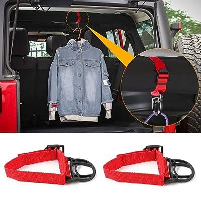 2PCS Roll Bar Coat Hanger Clothes Hook for Jeep Wrangler CJ YJ TJ LJ JK JKU JL JLU JT Sports Sahara Freedom Rubicon & Unlimited X 2/4 Door (Red): Automotive