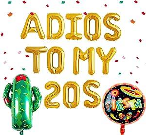 JeVenis 3 PCS Adios To My 20S Balloon 30th Birthday Party Decor Taco Bout 30 Balloons Mexican 30th Birthday Fiesta 30 Birthday Decor Cactus Balloon