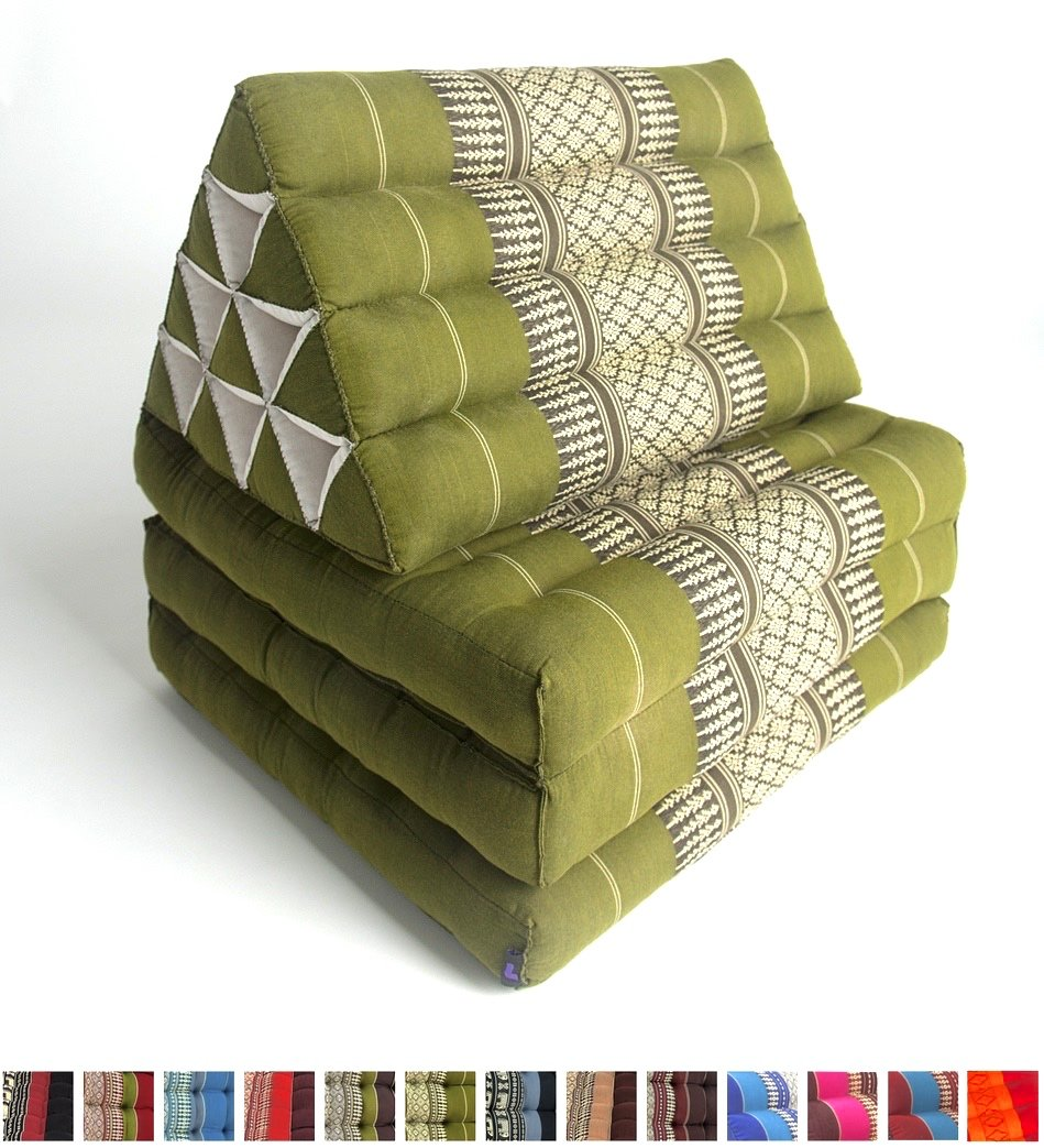 Leewadee Foldout Triangle Thai Cushion, 67x21x3 inches, Kapok Fabric, Green, Premium Double Stitched