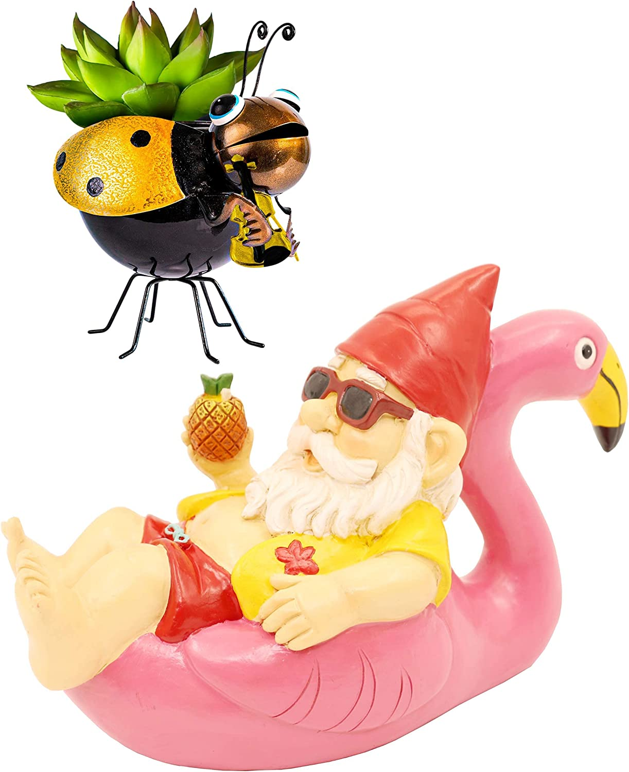 Garden Gnome on Flamingo + Ladybug Indoor/Outdoor Succulent Planter. The Perfect Bundle for Nature Lovers