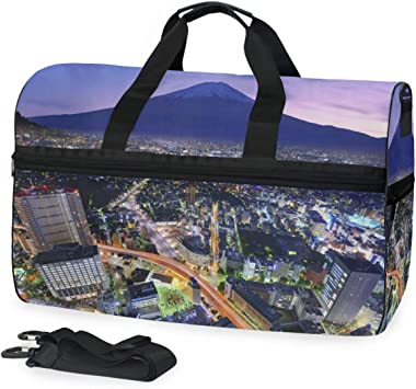 MUOOUM Lighthouse Blue Sea Large Duffle Bags Sports Gym Bag with Shoes Compartment for Men and Women