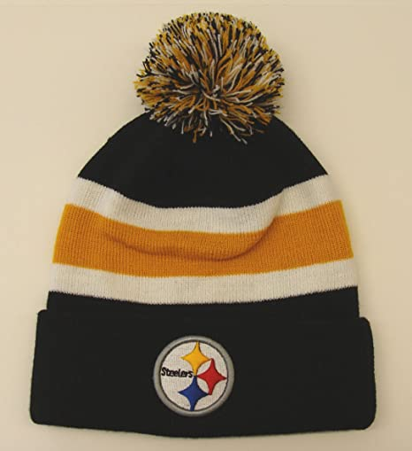 c2df44d5b Image Unavailable. Image not available for. Color  Pittsburgh Steelers  Breakaway Pom Top Cuff Knit Hat Beanie