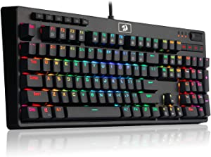 REDRAGON K579 Mechanical Gaming Keyboard Wired RGB LED Backlit Mechanical Gamers Keyboard with Macro Keys 104 Keys for Computer PC Laptop Fast Clicky Cherry Blue Switches Equivalent