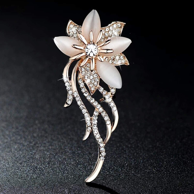 YAZILIND Joyer/ía de Plata Flor del Oro PlatedPlum cristalinos Coloridos broches y prendedores para la Mujer