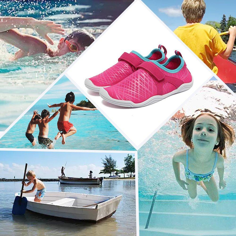 Fanture Girls & Boys Water Shoes Lightweight Comfort Sole Easy Walking Athletic Slip on Aqua Sock(Toddler/Little Kid/Big Kid) U4JSX001-Pink-33 by Fanture (Image #6)