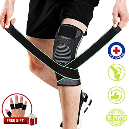 b038bf127f Knee Brace, Compression Knee Sleeve with Strap for Best Support, Free Gift  for Finger