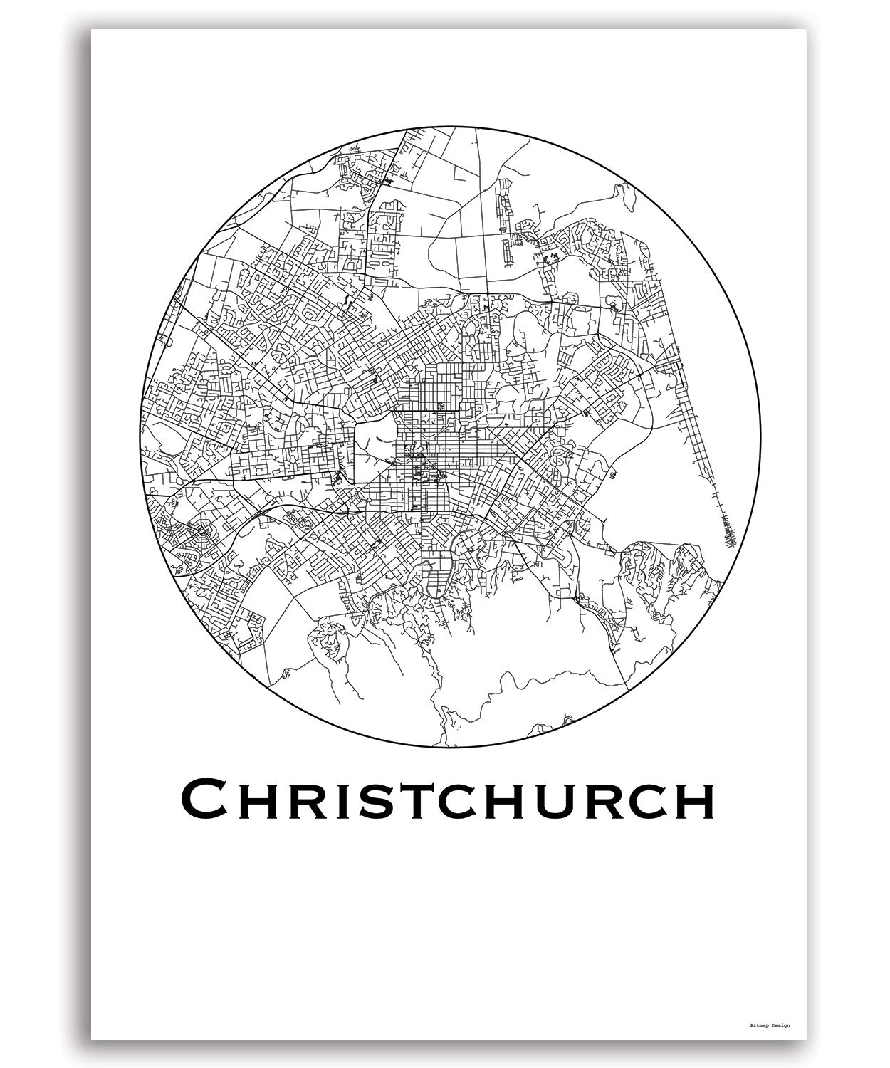 Poster Christchurch New Zealand City Map Street Map Wall Decor