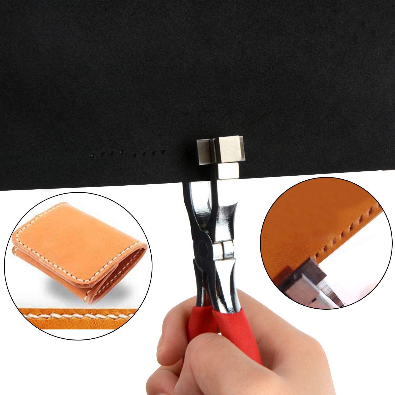 Punz/ón para orificios de cuero rojo herramienta de pinza giratoria para trabajos pesados Power Assist con accesorios de repuesto perforador de orificios para cintur/ón