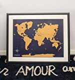 """Scratch Off World Map Poster -with US States Included - Scratchable World Travel Map - 18x24"""" Easy to Frame - Perfect Gift for Travelers and Teachers - Designed in Hollywood, CA"""