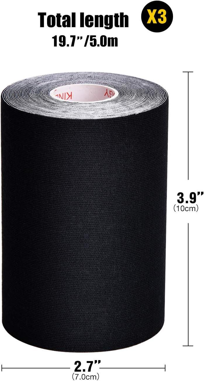 TOBWOLF Juego de Cinta kinesiológica de algodón elástico, Cinta fisioterapéutica Transpirable, Alivio del Dolor y Apoyo Muscular – 5 cm x 5 m/7,5 cm x 5 m/10 cm x 5 m: Amazon.es: