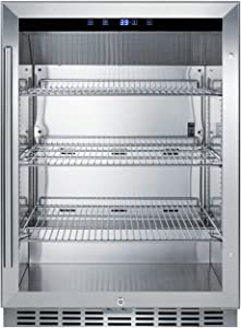 Summit SCR611GLOS 24 Inch Freestanding or Built In Beverage Center in Stainless Steel