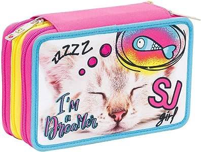 Estuche Escolar Seven – SJ Top Friends – 3 Compartimentos – Rosa – Rotuladores de Goma etc.: Amazon.es: Equipaje