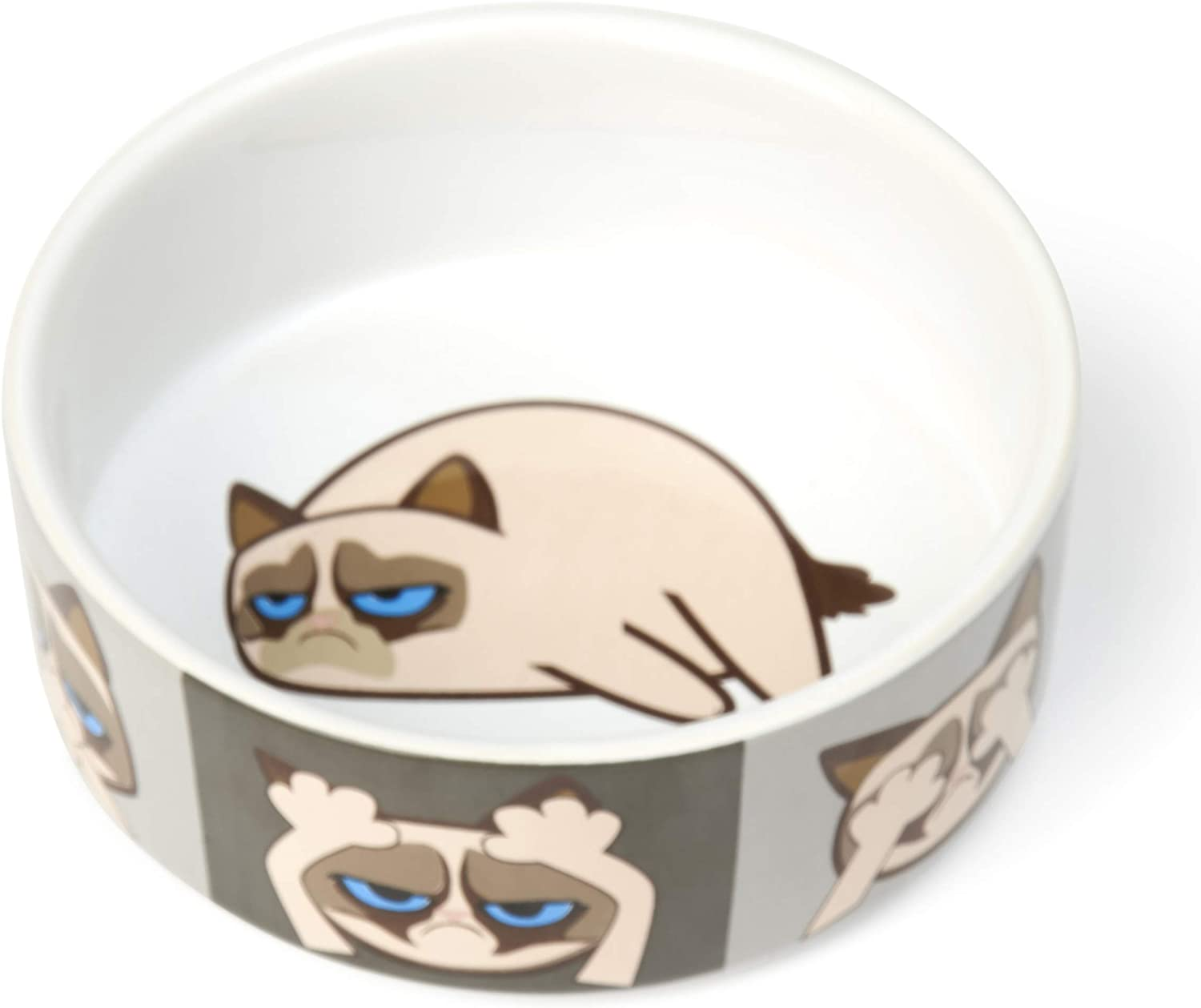 Grumpy Cat by PetRageous Designs Here//See//Speak No Evil 5 Bowl G16099 Gray 2 Cups