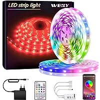 Tiras LED, WEILY Bluetooth Luces LED RGB 10M 5050 con Control Remoto Control, 150 Tira LED de Brillo y 4 opciones DIY…