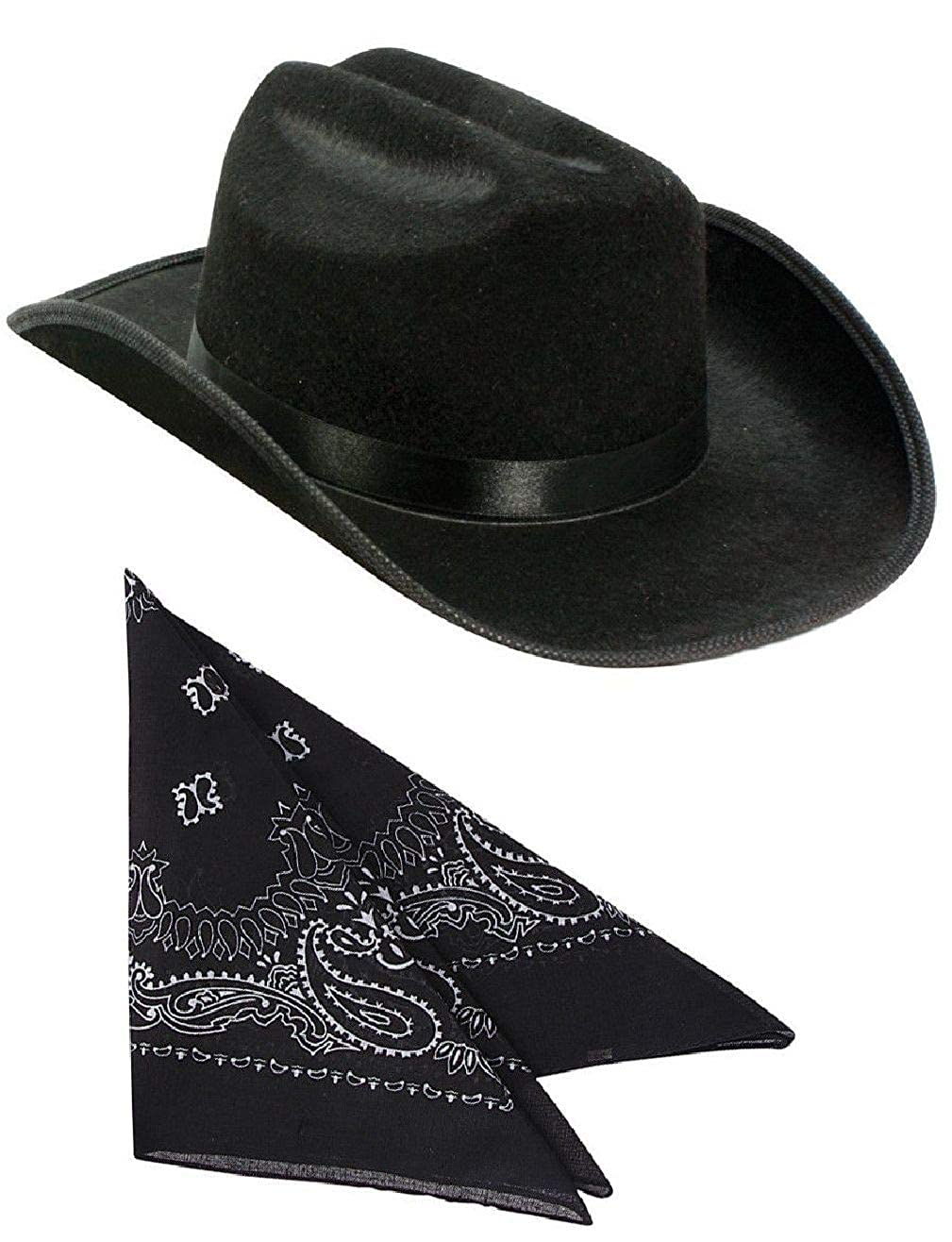 Amazon.com  Kids Black Cowboy Outlaw Felt Hat and Bandana Play Set Costume  Accessory  Clothing 069c8167a10