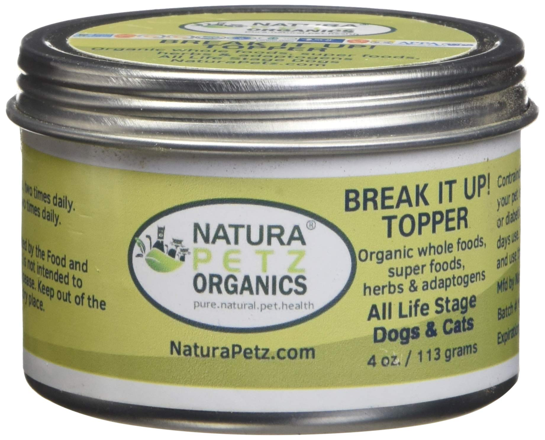 Natura Petz Organics BREAK2DOGTOPPER Break It Up! Flavored Stone Eliminator Meal Topper for All Life Stage Dogs by Natura Petz Organics