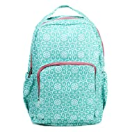 Mint Green Damask Medallion 10 x 18 Inch Reinforced and Water Resistant Backpack