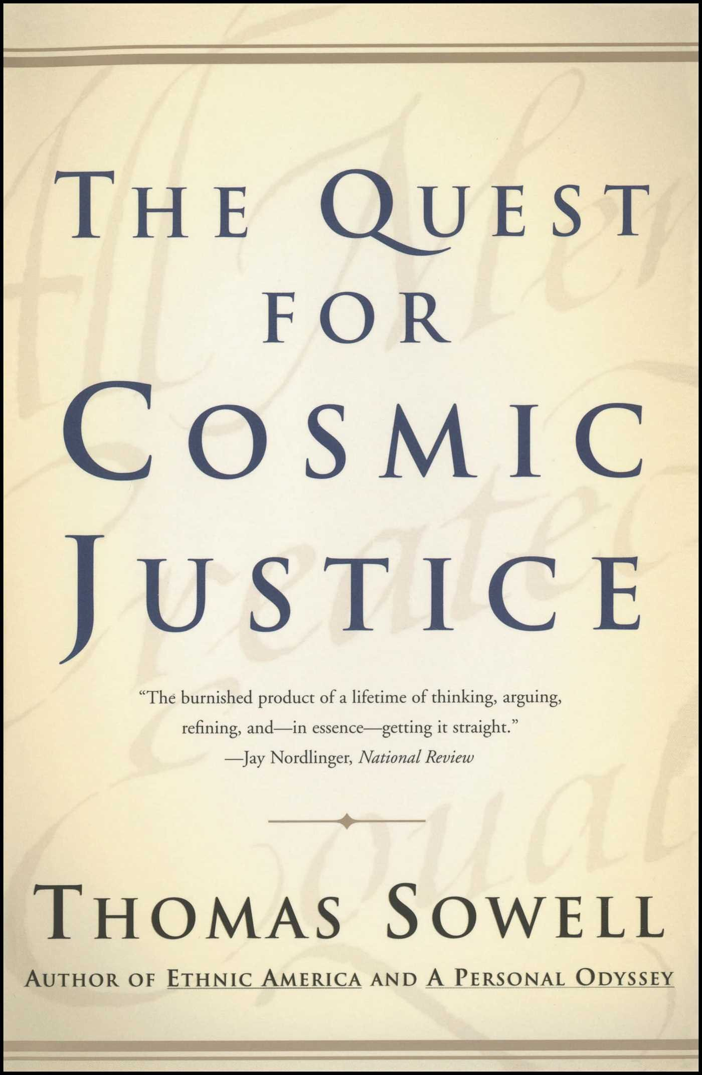 The Quest For Cosmic Justice Amazon De Thomas Sowell