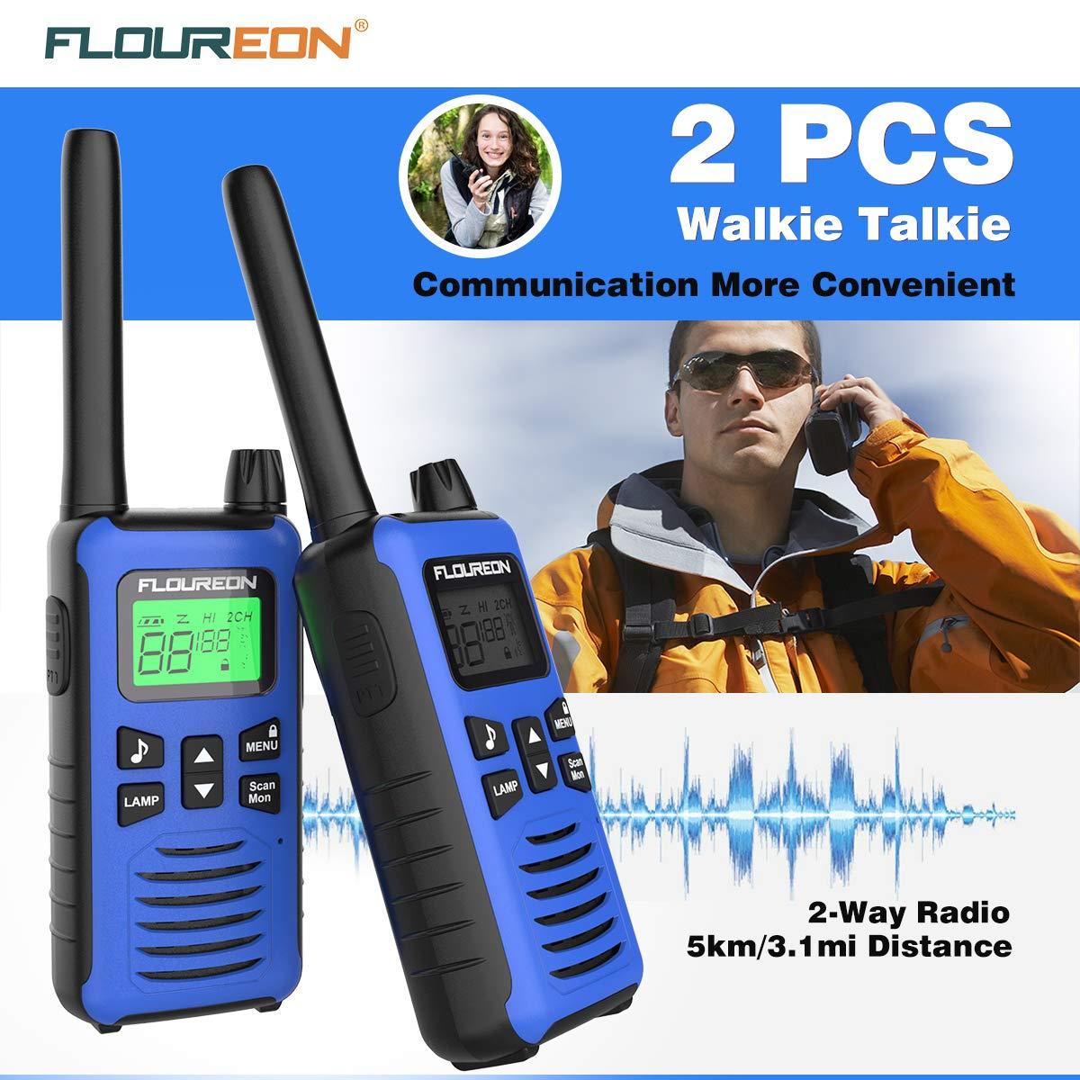 FLOUREON Walkie Talkies al Aire Libre Radio Bidireccional Walkie con 16 Canales Pantalla LCD de 3 Millas, 1 par Azul