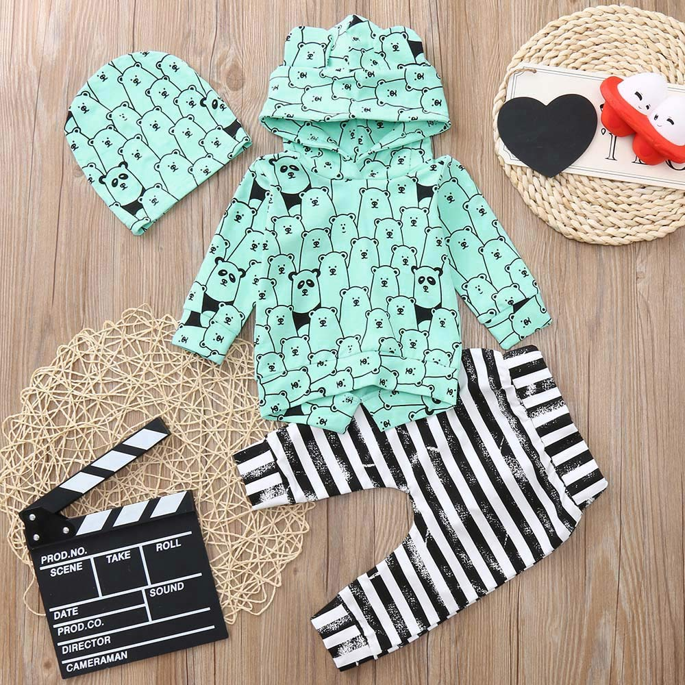 Lucoo Infant Baby Boys Girls Long Sleeve Animal Print Tops Pants+Hat Outfits Clothes