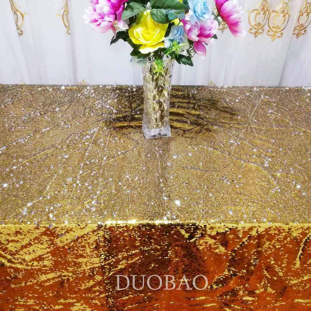 DUOBAO Sequin Tablecloth 60x84-Inch Gold Mermaid Sequin Fabric Gold to Silver Glitter Tablecloth Reversible tablecloths for Rectangle Tables~0516 by DUOBAO (Image #4)