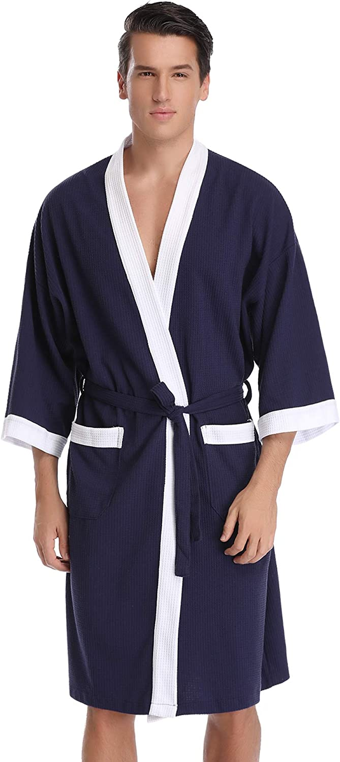 Aibrou Unisex Waffle Bathrobe Cotton Lightweight Nightgowns Sleepwear Spa Robe