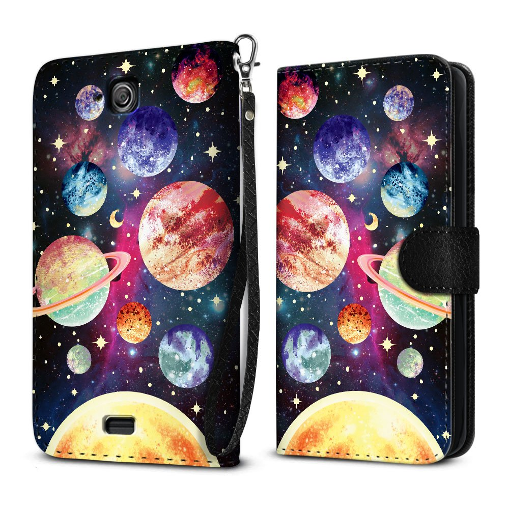 Kyocera Hydro Wave C6740 Air C6745 Case, FINCIBO Ultra Slim Protective Carry Flip Canvas Wallet Pouch Case with Credit Card Holder TPU Cover, Planet Solar System by Fincibo