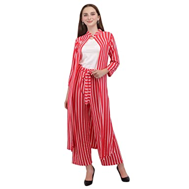 948645eb Kushaas Designer Girls Three Piece Dress Red and White with Long ...