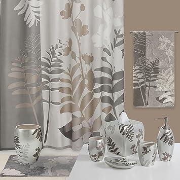 Amazoncom DS BATH Olivia Grey Shower CurtainFlower Fabric
