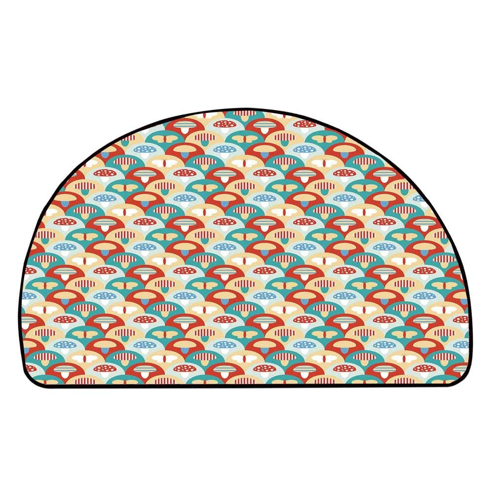 C COABALLA Mushroom Comfortable Semicircle Mat,Colorful Abstract Cartoon Style Retro Composition with Toadstools and Butterflies for Living Room,11.8'' H x 23.6'' L
