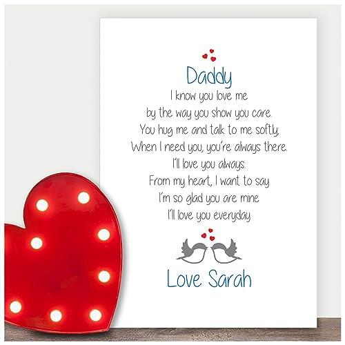 Keepsake Personalised Poem Dad Birthday Gifts Daddy Father Grandad Presents Love