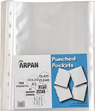A4 Punched Pocket 50 Micron Strong Clear Transparent 106  Wallets