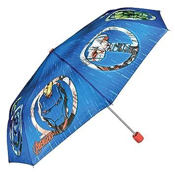 Paraguas Marvel Los Vengadores Niño - Mini Paraguas con estampado Avengers - Plegable Ligero Compacto y