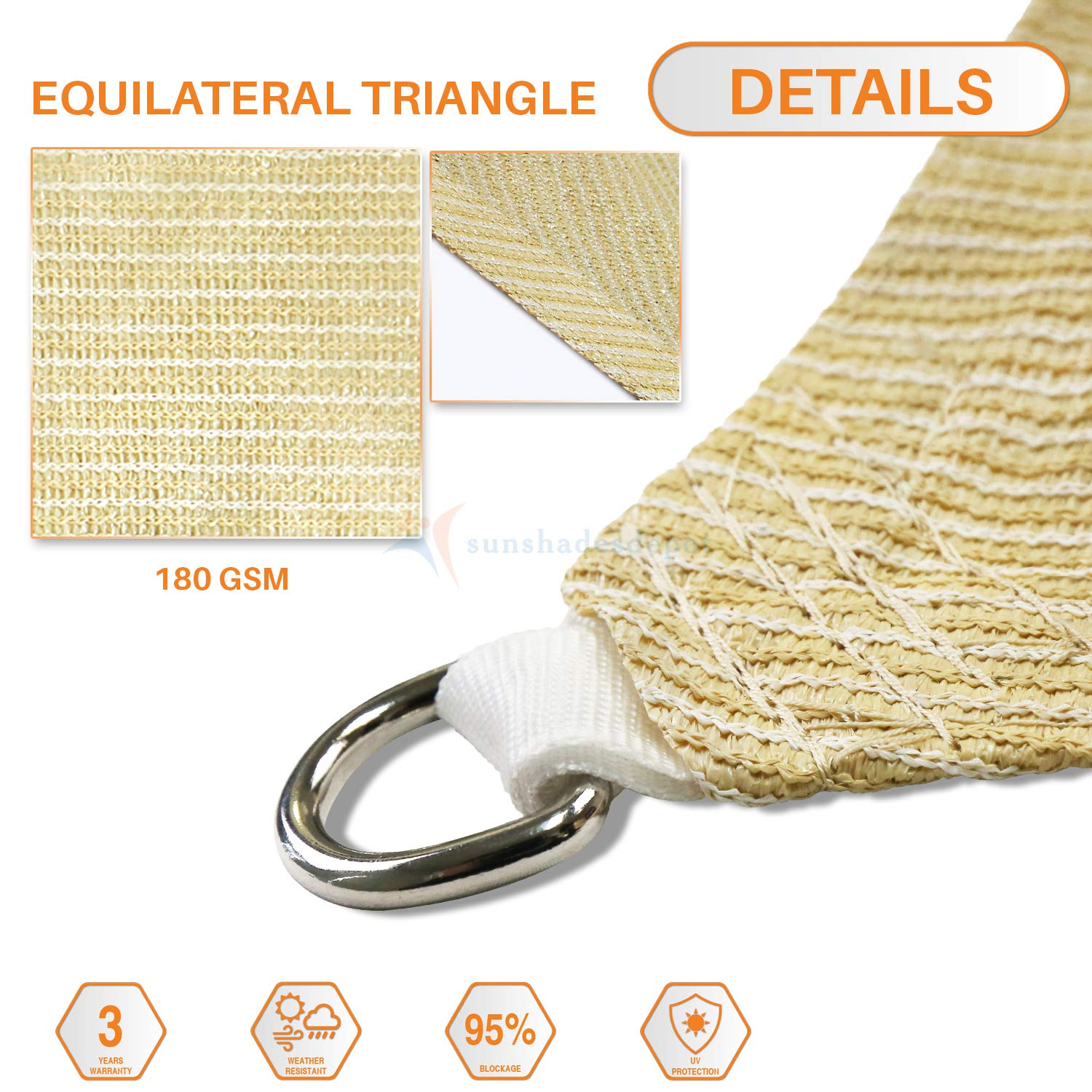 Sunshades Depot 20 x20 x20 Sun Shade Sail 180 GSM Equilateral Triangle Permeable Canopy Tan Beige Custom Commercial Standard