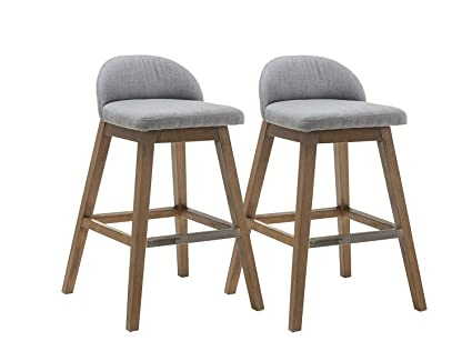 Bon Kmax Patio Bar Height Stools Set, Fabric Accent Counter Height Bar Stools  Chair With Back