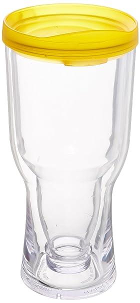 Vino2Go amarillo con aislamiento de cerveza vaso con bebida a través de tapa, 16 onzas: Amazon.es: Hogar