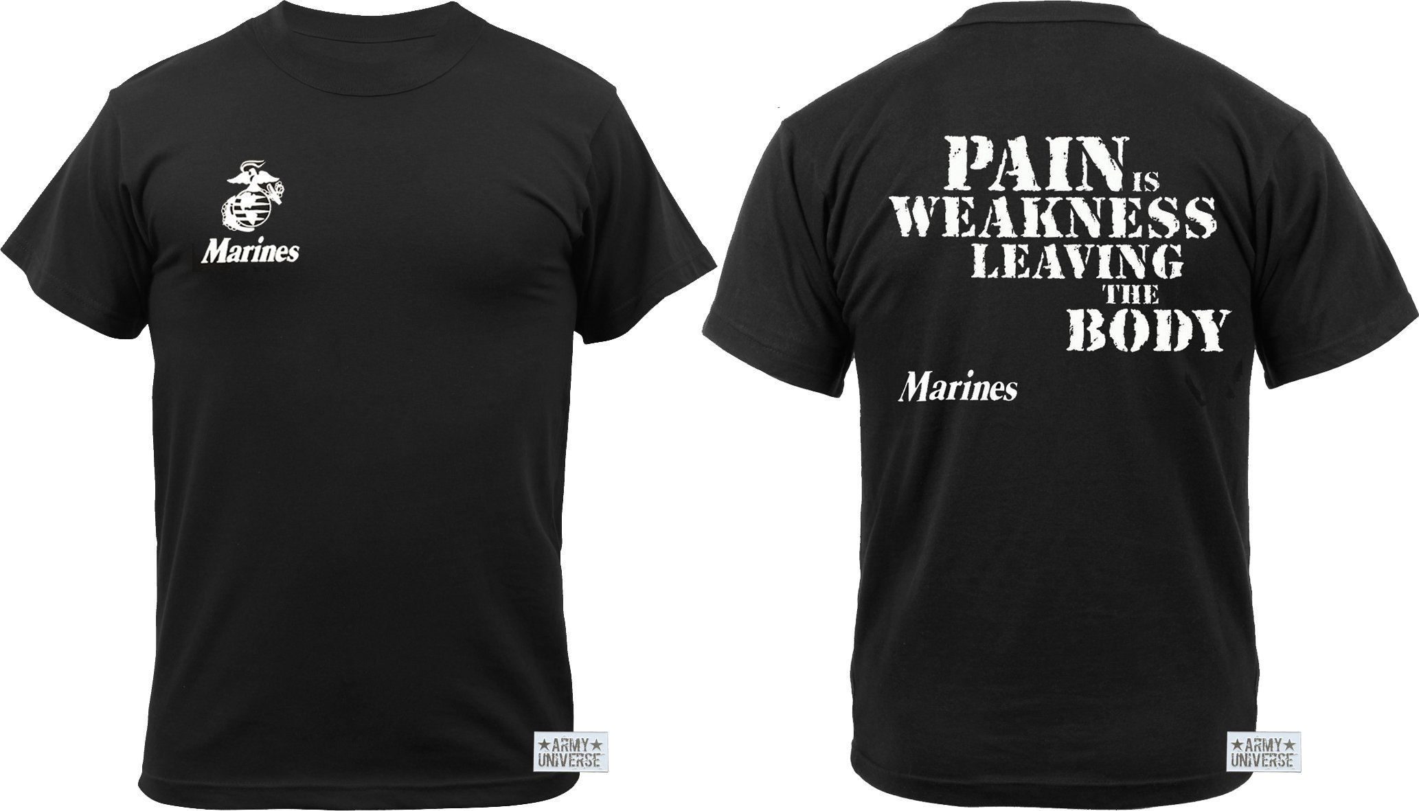 Army Universe Black USMC US Marines Pain is Weakness Leaving The Body Double Sided T-Shirt Pin (Size Medium / 37''-41'')