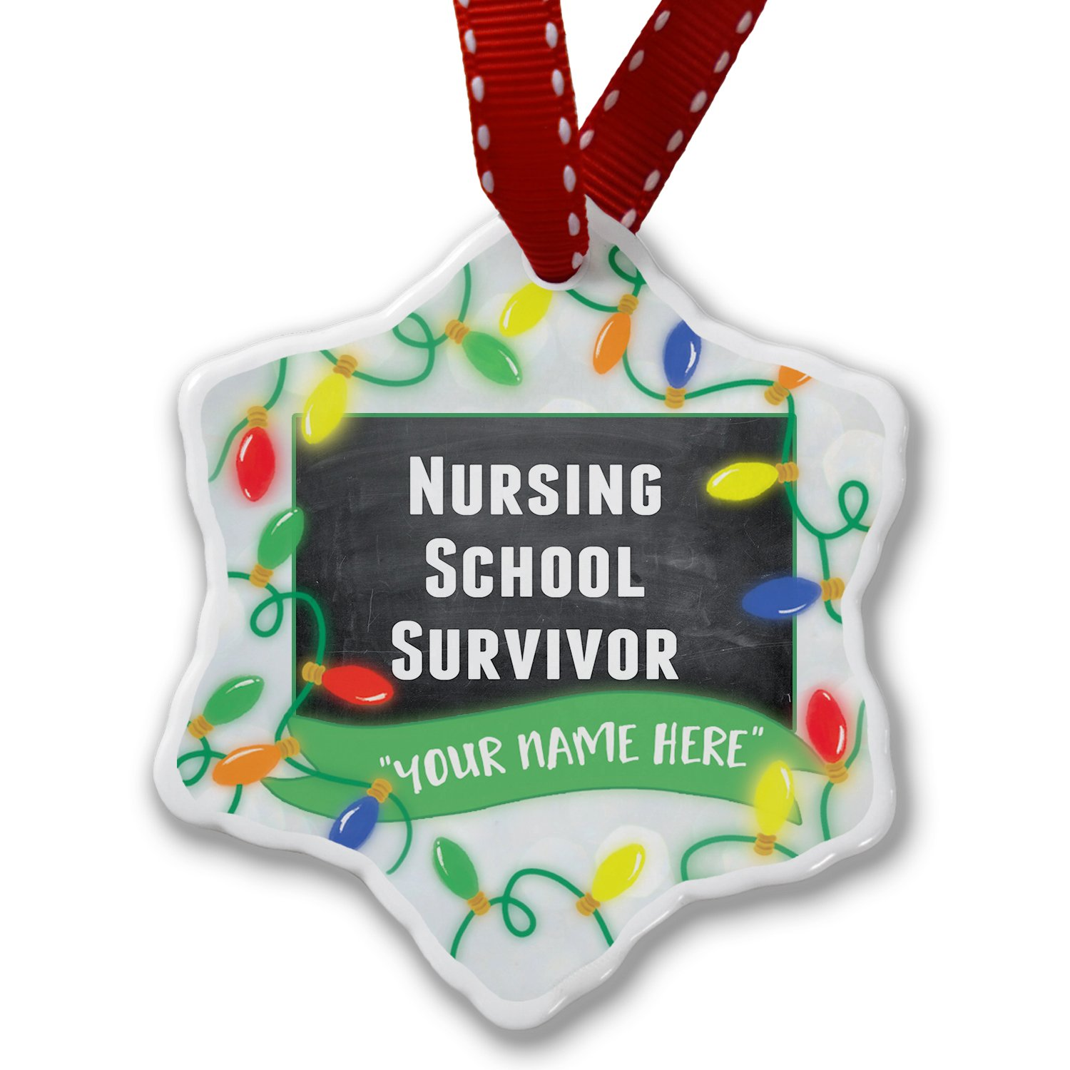 Personalized Name Christmas Ornament, Nursing School Survivor NEONBLOND