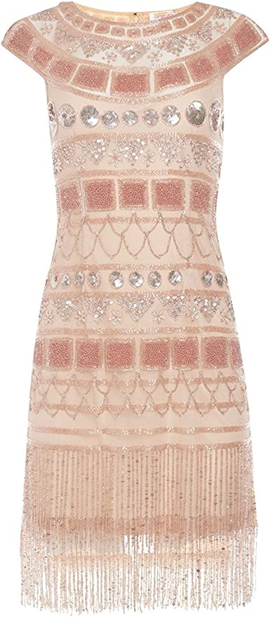 1920s Dresses UK | Flapper, Gatsby, Downton Abbey Dress gatsbylady london Beverley Vintage Inspired Fringe Flapper Dress in Champagne Blush £129.00 AT vintagedancer.com