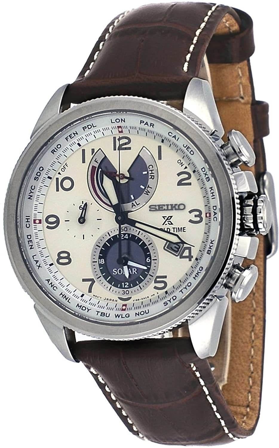 Seiko Mens Prospex World Time Solar with Brown Leather Strap and Cream Dial