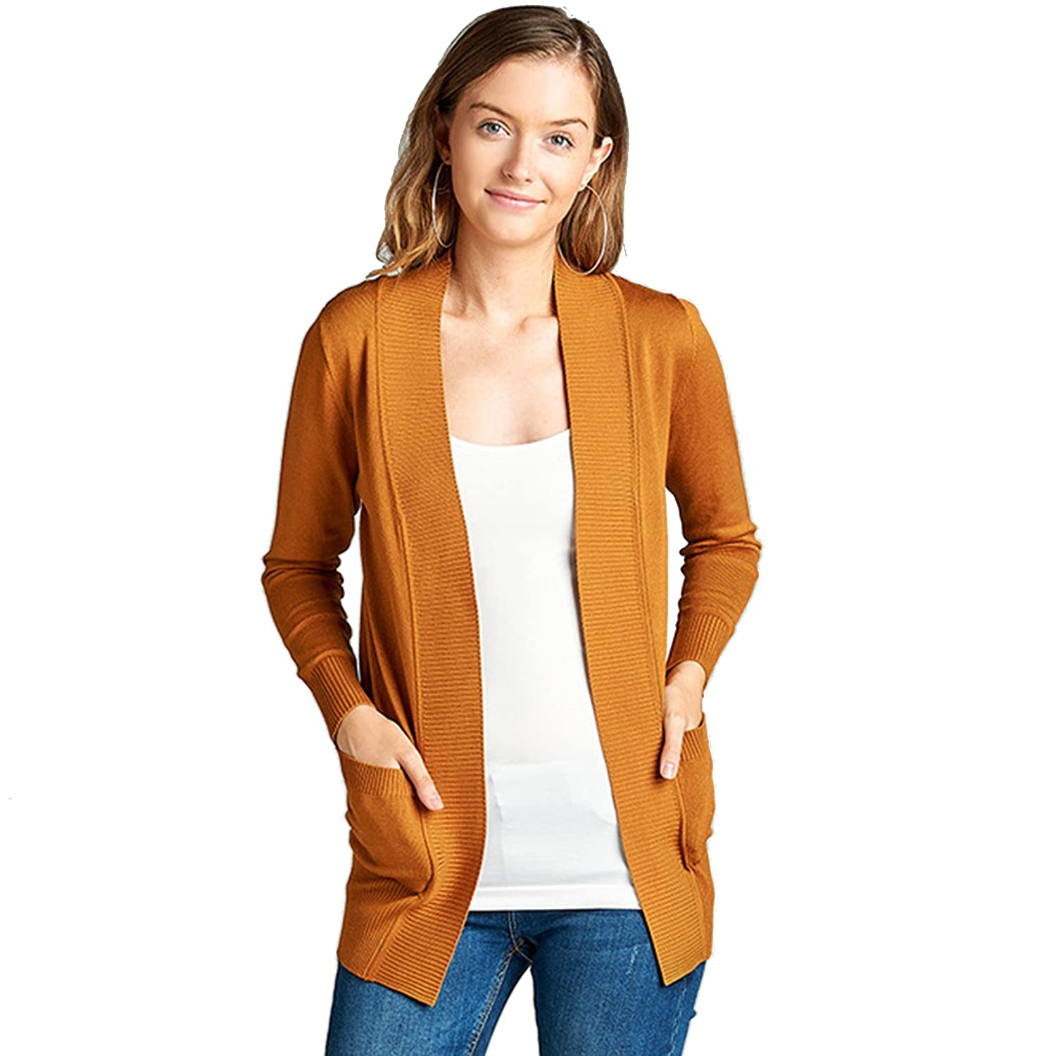 Women's Long Sleeve Knit Rib Open Front Solid Sweater Cardigan (Plus Size Available)