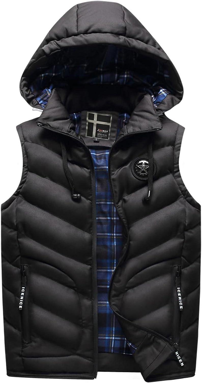JOOBOX - Chaleco de Pluma para Hombre con Capucha Desmontable Chaqueta Abrigo sin Mangas con Bolsillos de Cremallera Ligero Calentito Invierno
