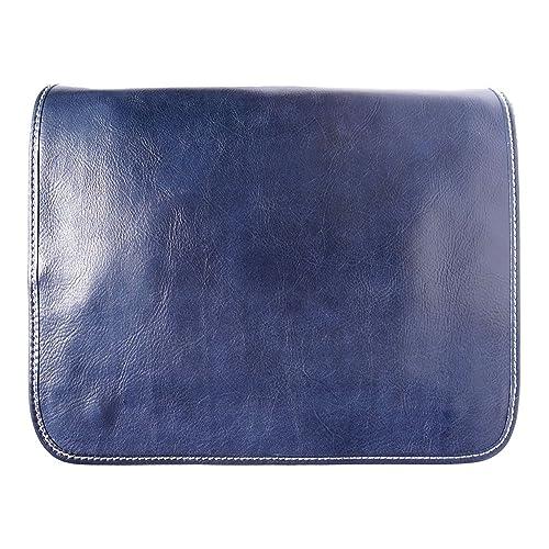 BOLSO DE HOMBRO DE LA CARTERA BRILLANTE Y CUERO CURTIDO VEGETAL 6548 (Azul)