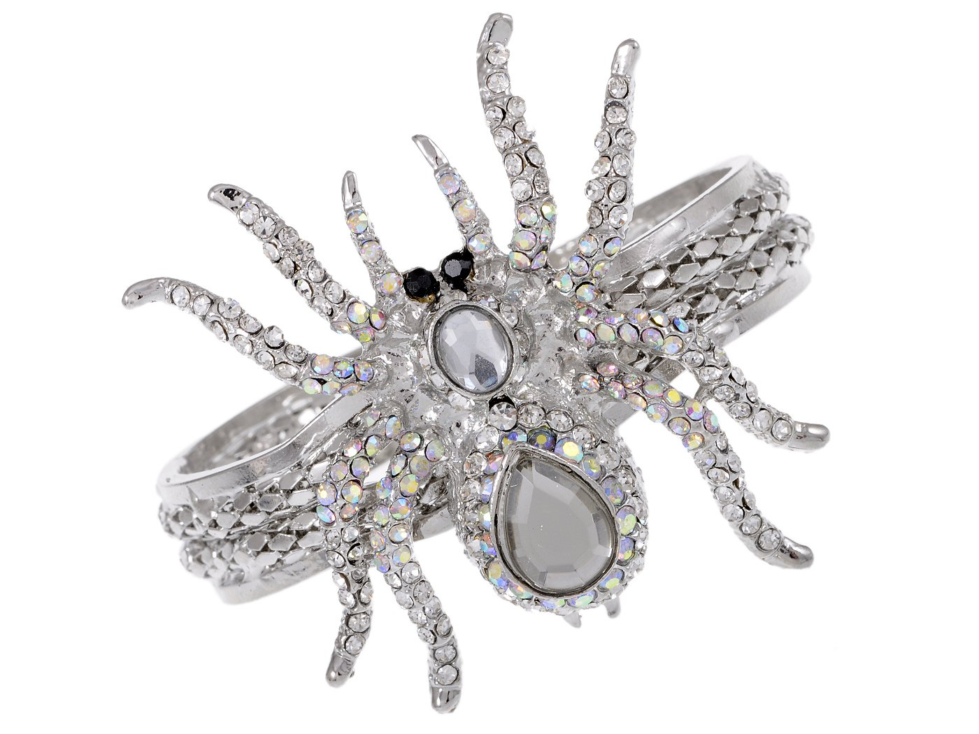 Alilang Silvery Metal White Clear Crystal Rhinestone Spider Bangle Bracelet Halloween