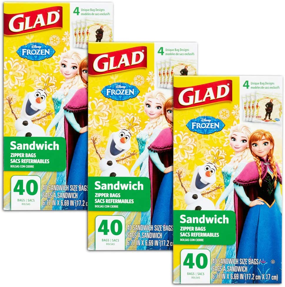 Disney Princess Lunch Bags for Kids Girls ~ 120 Ct Value Pack Pack of 3 40-ct Sandwich Bags; Disney Princess School Supplies