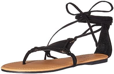 fc0e9330864a8 Qupid Women s Thong lace up Sandal Flat