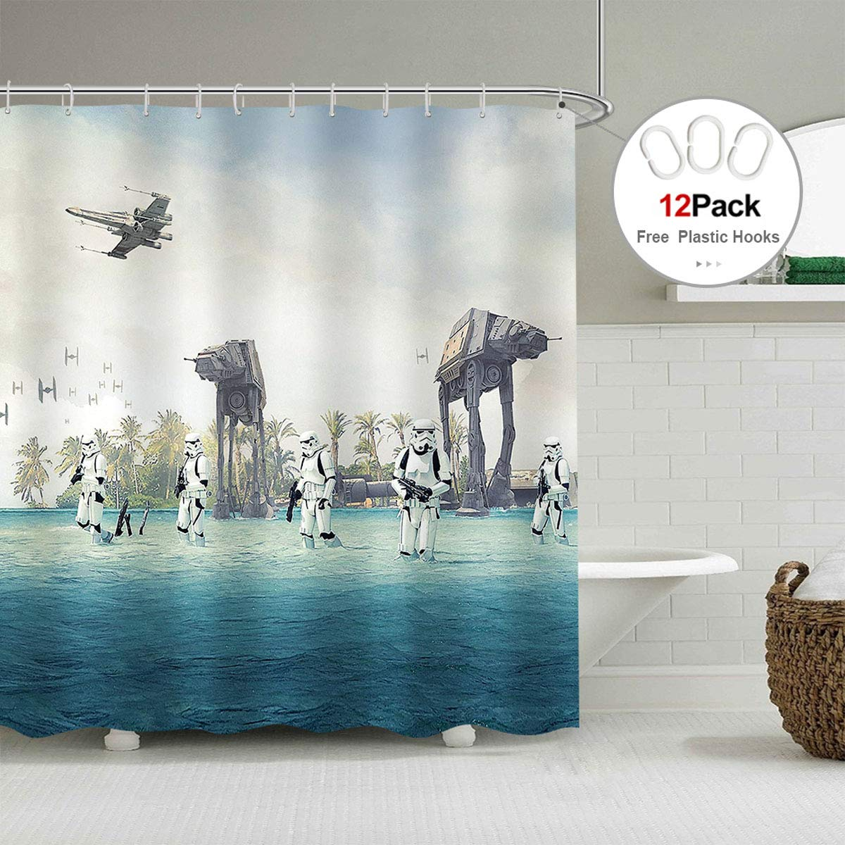 At at empire strikes back in star wars movie shower curtain set blue ocean green tree stormtroopers shower curtain panel 72x72 inch polyester waterproof