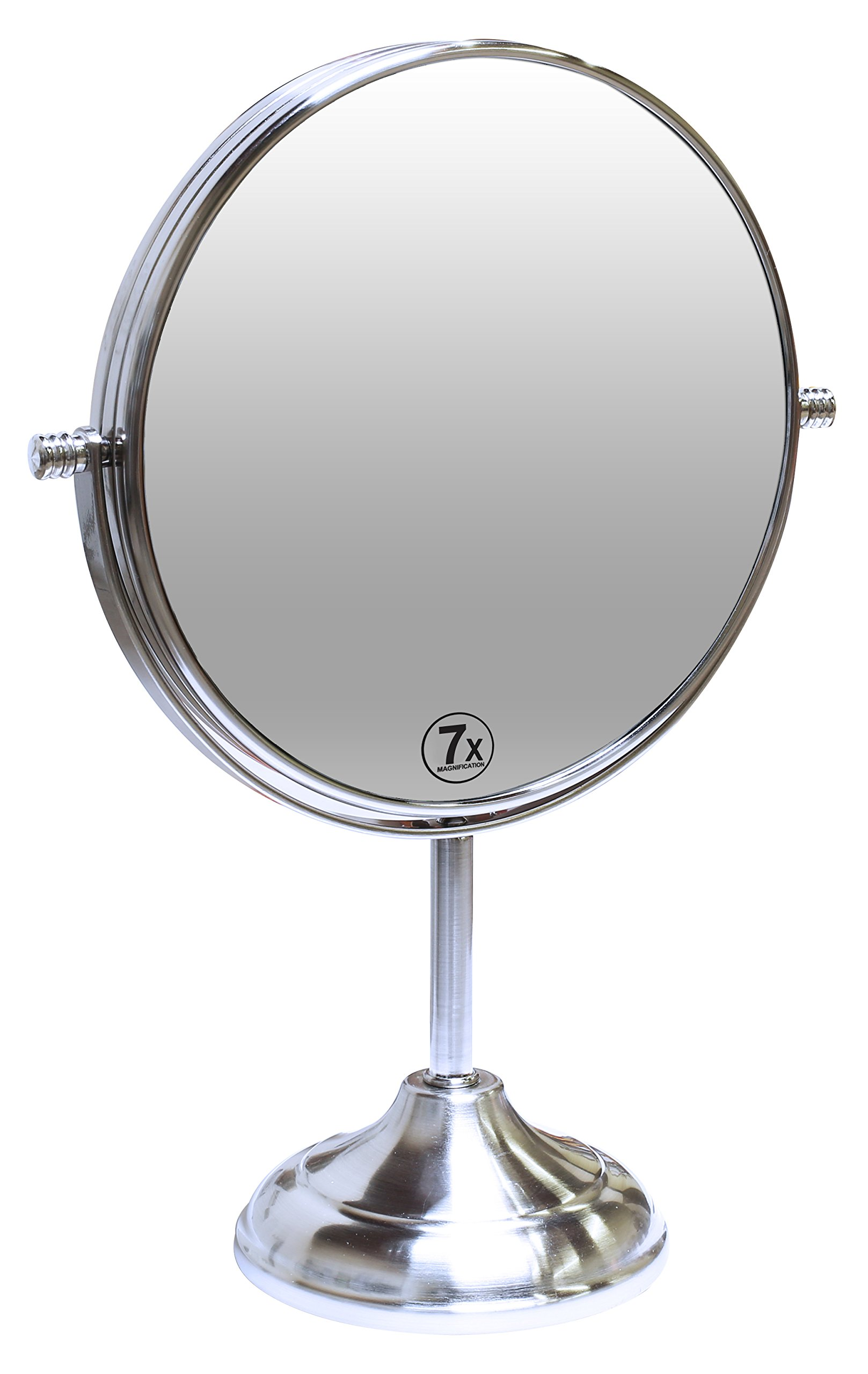 Decobros 8-inch LARGE Tabletop Two-sided Swivel Vanity Mirror with 7x Magnification, 13-inch Height by Deco Brothers